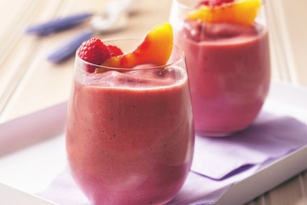 smoothie pêche-framboise